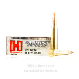 Image of Hornady 223 Rem Ammo - 20 Rounds of 55 Grain V-MAX Ammunition