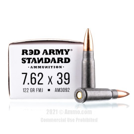 Image For 20 Rounds Of 122 Grain FMJ Berdan Steel 7.62x39 Red Army Standard Ammunition