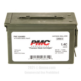 Image of PMC 50 BMG Ammo - 100 Rounds of 660 Grain FMJ-BT Ammunition Linked in Ammo Can