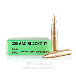Image of Sellier and Bellot 300 Blackout Ammo - 20 Rounds of 124 Grain FMJ Ammunition