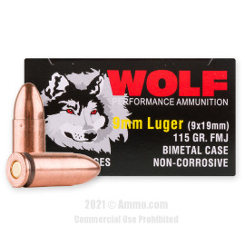 Image of Wolf 9mm Ammo - 1350 Rounds of 115 Grain FMJ Ammunition **STEEL CASES**
