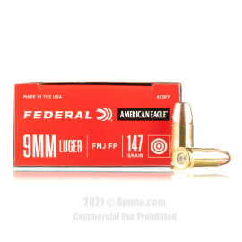Image of Federal 9mm Ammo - 50 Rounds of 147 Grain FMJ Ammunition