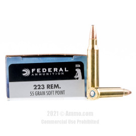 Image of Federal 223 Rem Ammo - 20 Rounds of 55 Grain SP Ammunition