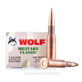 Image of Wolf Military Classic 7.62x54r Ammo - 500 Rounds of 148 Grain FMJ Ammunition