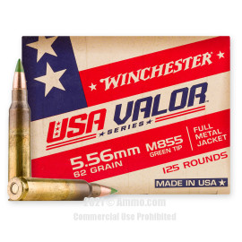 Image of Winchester USA VALOR 5.56x45 Ammo - 125 Rounds of 62 Grain FMJ M855 Ammunition