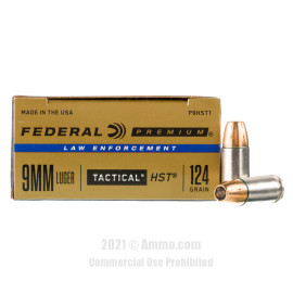 Image of Federal Law Enforcement HST 9mm Ammo - 50 Rounds of 124 Grain JHP Ammunition