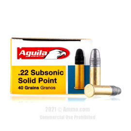 Image of Aguila Subsonic 22 LR Ammo - 50 Rounds of 40 Grain LRN Ammunition