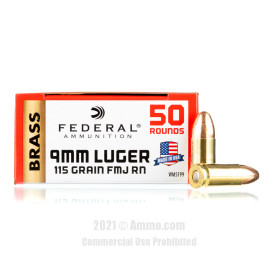 Image of Federal 9mm Ammo - 50 Rounds of 115 Grain FMJ Ammunition