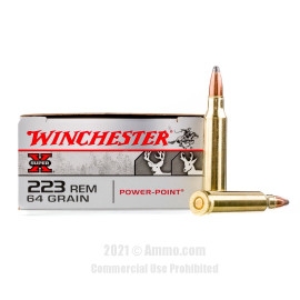 Image of Winchester 223 Rem Ammo - 20 Rounds of 64 Grain PP Ammunition