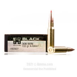 Image of Hornady BLACK 308 Win Ammo - 20 Rounds of 155 Grain A-MAX Ammunition