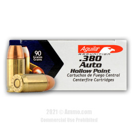 Image For 50 Rounds Of 90 Grain JHP Boxer Brass 380 ACP Aguila Ammunition