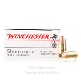Image of Winchester 9mm Ammo - 50 Rounds of 147 Grain JHP Ammunition