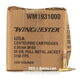 Image of Winchester USA 5.56x45 Ammo - 1000 Rounds of 55 Grain FMJ Ammunition