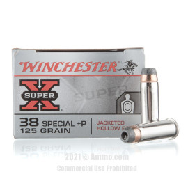 Image of Winchester Super-X 38 Special +P Ammo - 50 Rounds of 125 Grain SJHP +P Ammunition