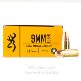 Image of Browning 9mm Ammo - 500 Rounds of 115 Grain FMJ Ammunition