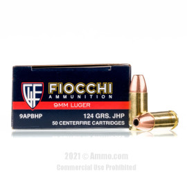 Image of Fiocchi 9mm Ammo - 50 Rounds of 124 Grain JHP Ammunition