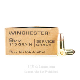 Image of Winchester Service Grade 9mm Ammo - 500 Rounds of 115 Grain FMJ Ammunition