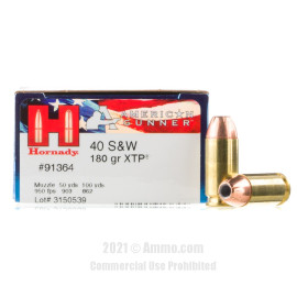 Image of Hornady American Gunner 40 S&W Ammo - 20 Rounds of 180 Grain XTP JHP Ammunition