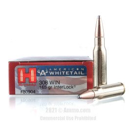 Image of Hornady American Whitetail 308 Win Ammo - 20 Rounds of 165 Grain InterLock SP Ammunition