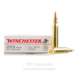 Image of Winchester 223 Rem Ammo - 20 Rounds of 62 Grain FMJ Ammunition