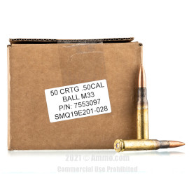 Image For 50 Rounds Of 660 Grain FMJ Boxer Brass 50 BMG Lake City Ammunition