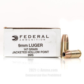Image of Federal 9mm Ammo - 50 Rounds of 147 Grain JHP Ammunition