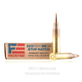 Image of Hornady Frontier 223 Rem Ammo - 20 Rounds of 68 Grain BTHP Match Ammunition