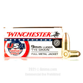 Image of Winchester USA Target Pack 9mm Ammo - 500 Rounds of 115 Grain FMJ Ammunition