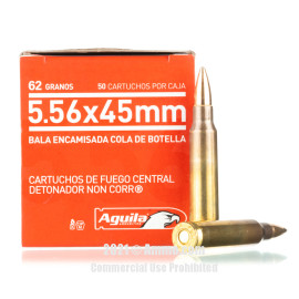 Image For 50 Rounds Of 62 Grain FMJ-BT Boxer Brass 5.56x45 Aguila Ammunition