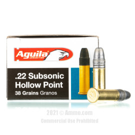 Image of Aguila 22 LR Ammo - 50 Rounds of 38 Grain LHP Ammunition
