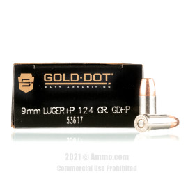 Image of Speer Gold Dot 9mm +P Ammo - 50 Rounds of 124 Grain HP Ammunition
