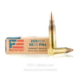 Image of Hornady Frontier 223 Rem Ammo - 500 Rounds of 55 Grain FMJ Ammunition