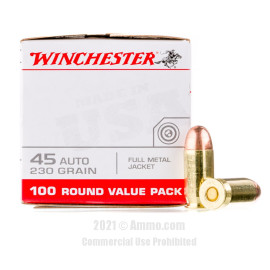Image of Winchester 45 Auto Ammo - 100 Rounds of 230 Grain FMJ Ammunition