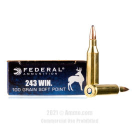 Image of Federal 243 Win Ammo - 20 Rounds of 100 Grain SP Ammunition