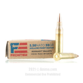 Image of Hornady Frontier 5.56x45 Ammo - 20 Rounds of 55 Grain HP Match Ammunition