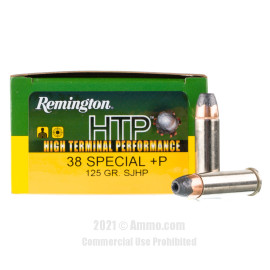Image of Remington HTP 38 Special +P Ammo - 20 Rounds of 125 Grain SJHP Ammunition