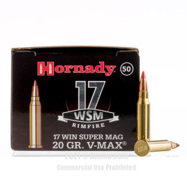 Image of Hornady Varmint Express 17 WSM Ammo - 50 Rounds of 20 Grain V-MAX Ammunition