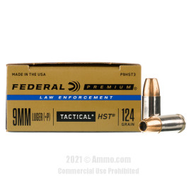 Image of Federal Law Enforcement HST 9mm +P Ammo - 50 Rounds of 124 Grain JHP Ammunition
