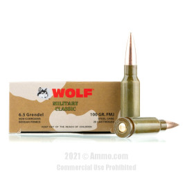 Image of Wolf Military Classic 6.5 Grendel Ammo - 20 Rounds of 100 Grain FMJ Ammunition