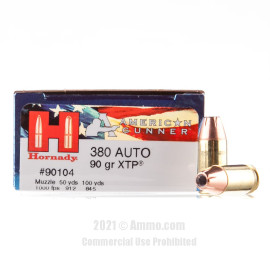 Image of Hornady 380 ACP Ammo - 25 Rounds of 90 Grain JHP Ammunition