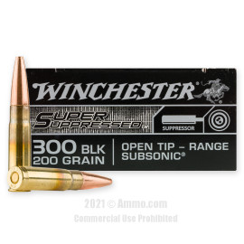 Image of Winchester Super Suppressed 300 AAC Blackout Ammo - 20 Rounds of 200 Grain Open Tip Ammunition