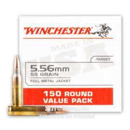 Image of Winchester USA 5.56x45 Ammo - 150 Rounds of 55 Grain FMJ Ammunition