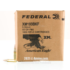 Image of Federal American Eagle 5.56x45 Ammo - 1000 Rounds of 55 Grain FMJ XM193 Ammunition