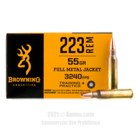 Image of Browning 223 Rem Ammo - 20 Rounds of 55 Grain FMJ Ammunition