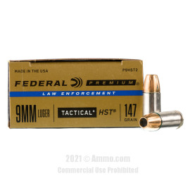 Image of Federal Law Enforcement HST 9mm Ammo - 50 Rounds of 147 Grain JHP Ammunition