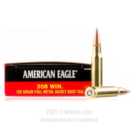Image of Federal 308 Win Ammo - 20 Rounds of 150 Grain FMJ-BT Ammunition