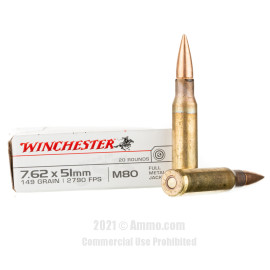 Image of Winchester 7.62x51 Ammo - 20 Rounds of 149 Grain FMJ M80 Ammunition