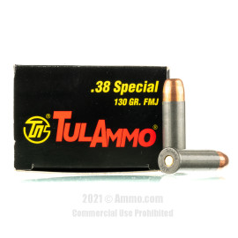 Image of TulAmmo 38 Special Ammo - 50 Rounds of 130 Grain FMJ Ammunition