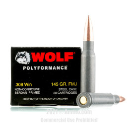 Image of Wolf 308 Win Ammo - 500 Rounds of 145 Grain FMJ Ammunition