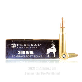 Image of Federal 308 Win Ammo - 20 Rounds of 180 Grain SP Ammunition